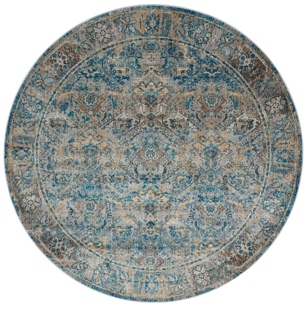dark aqua blue and grey traditional circle area rug with floral detail