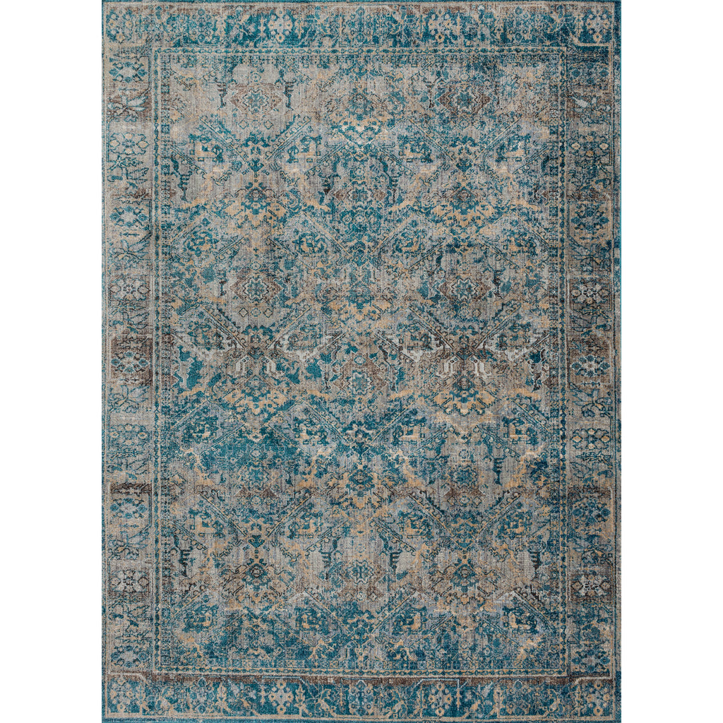 dark aqua blue and grey traditional area rug with floral detail