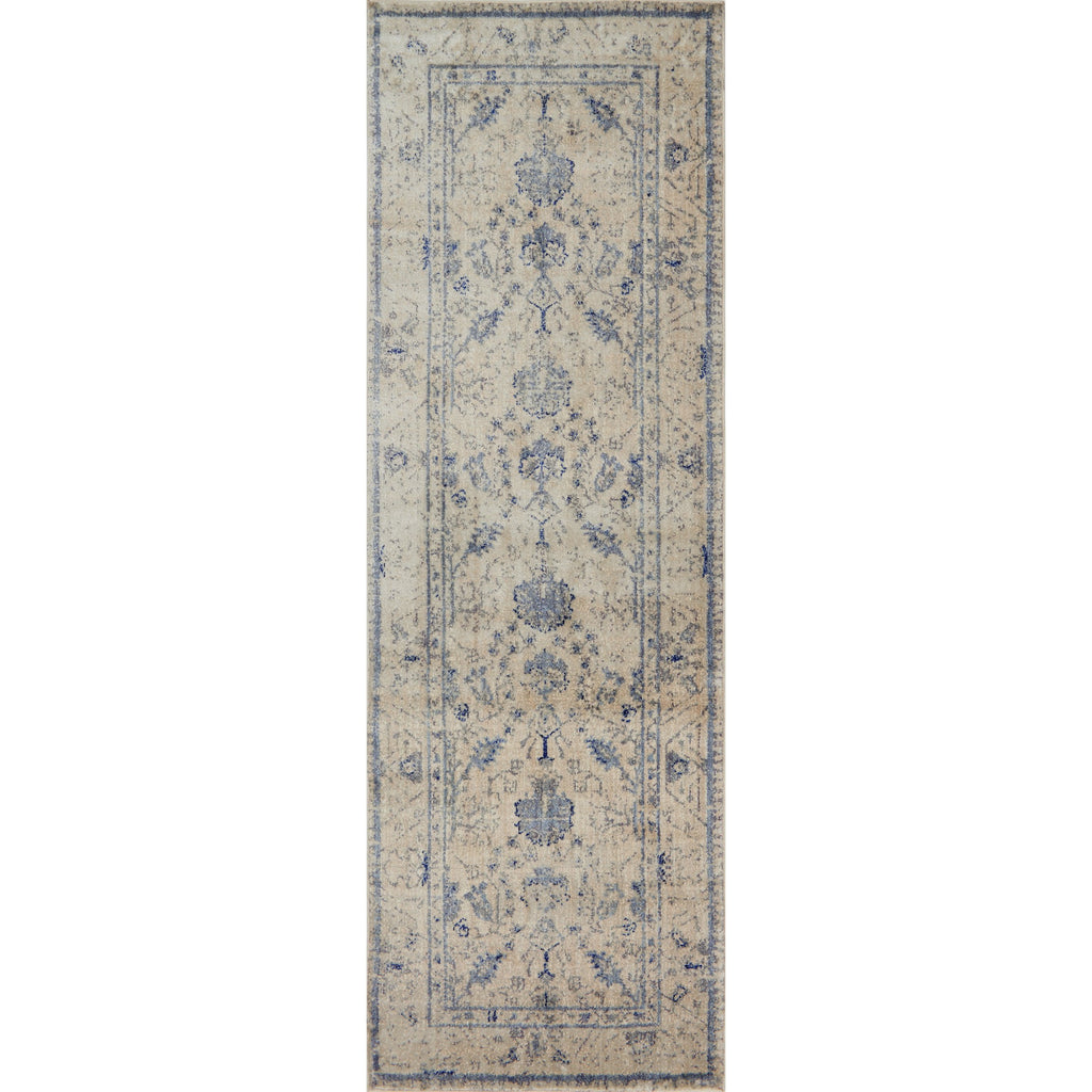 cream traditional runner rug with slate grey floral detail