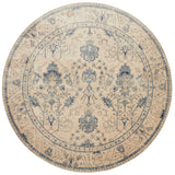 cream traditional circle area rug with slate grey floral detail