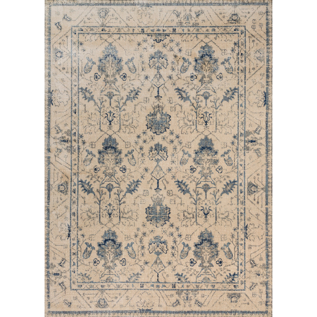 cream traditional area rug with slate grey floral detail