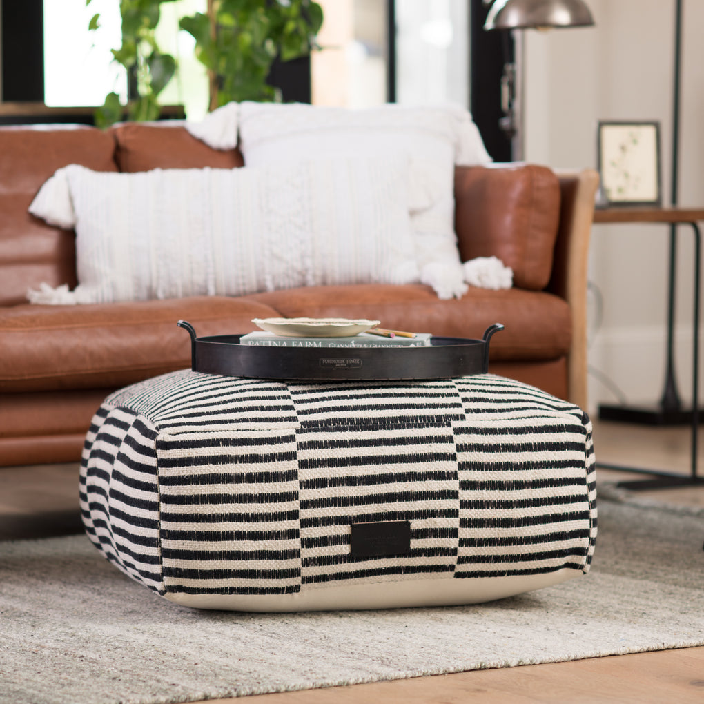 black and white striped short square pouf