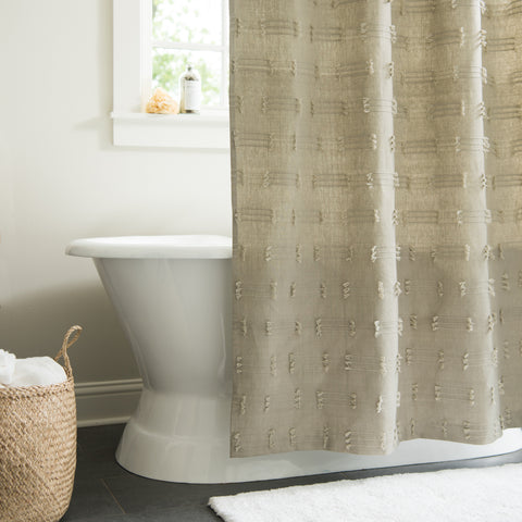 olive green cotton shower curtain