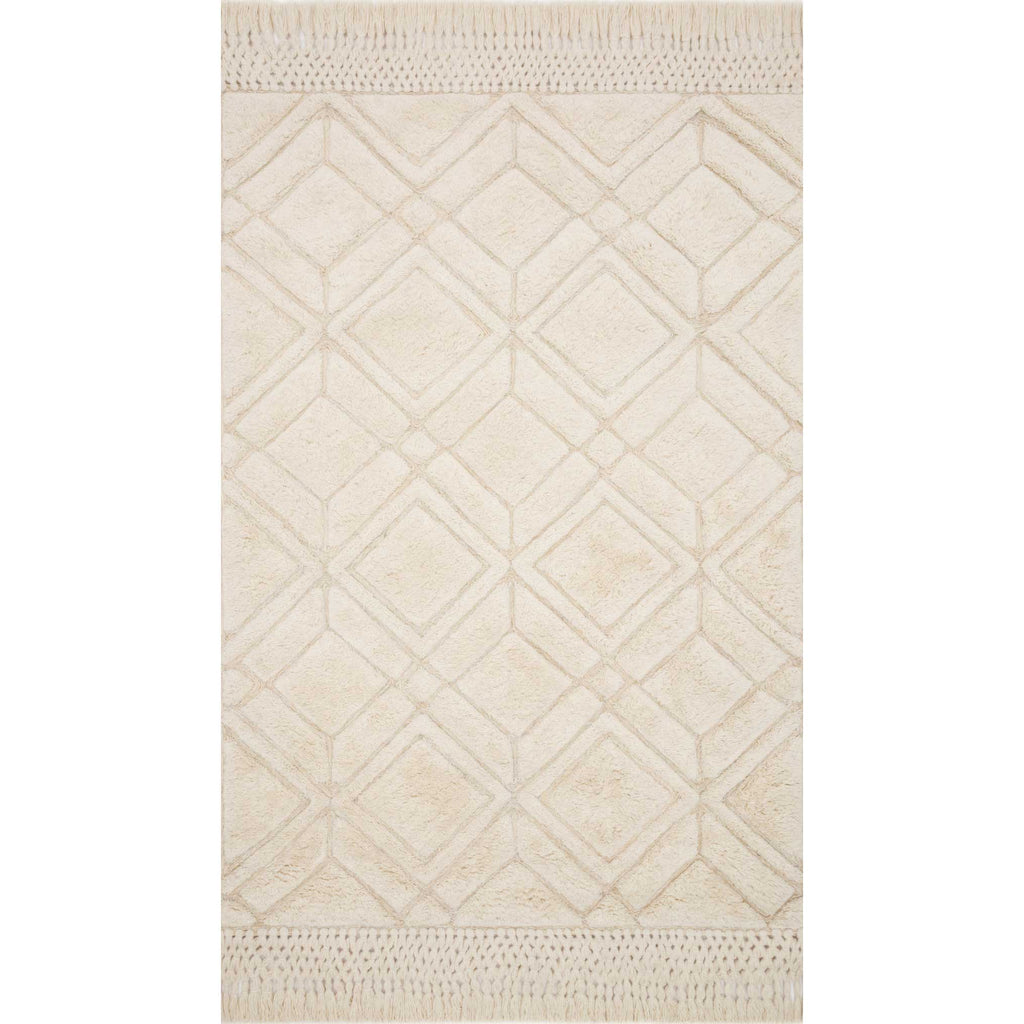 ivory embossed wool rug with tassel fringe