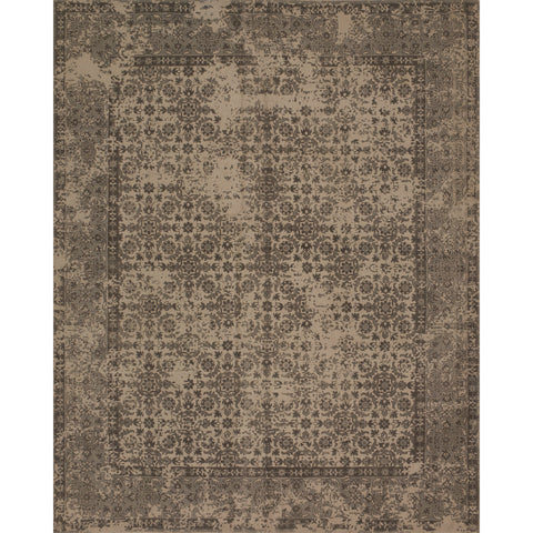 dark brown distressed rug with tan accents