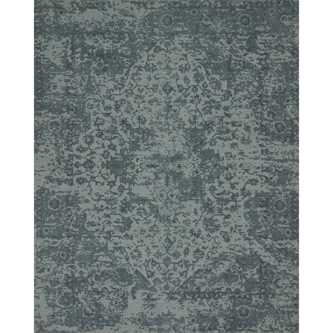 dark teal rug with floral pattern