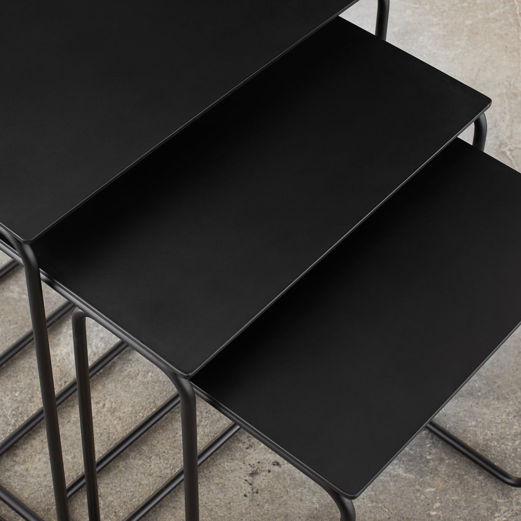 set of three nested black metal end tables