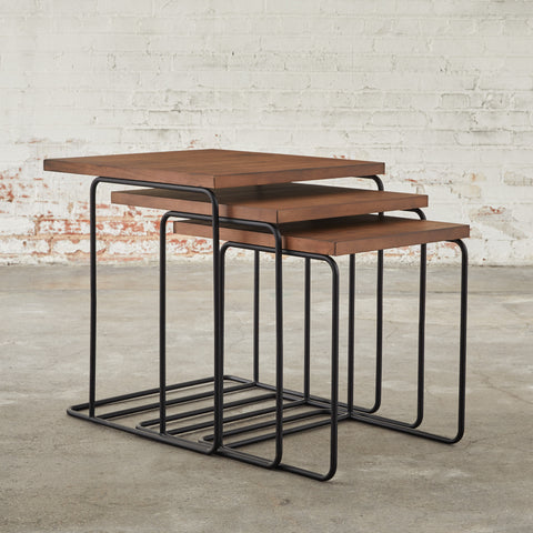 Nested Wood Traverse End Tables