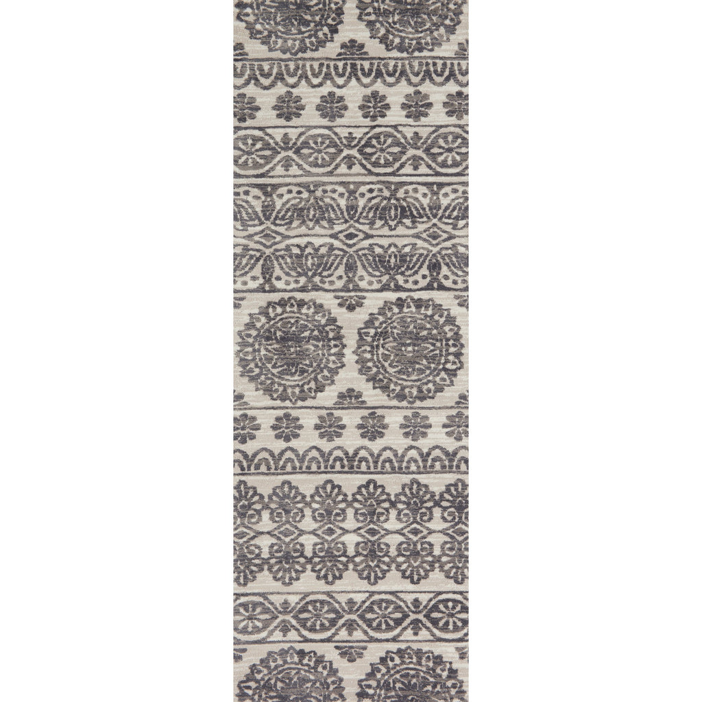 modern cream and grey runner rug with floral pattern