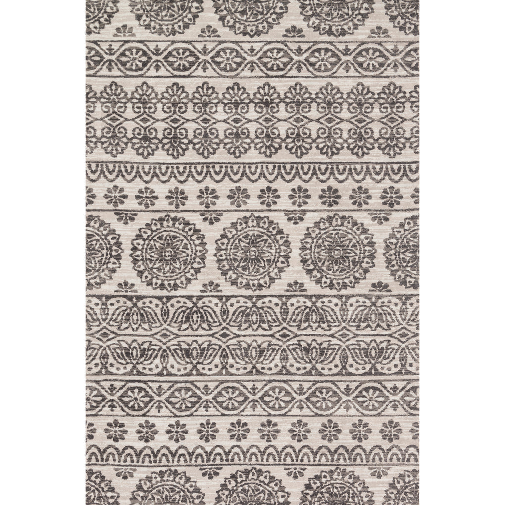 modern cream and grey area rug with floral pattern