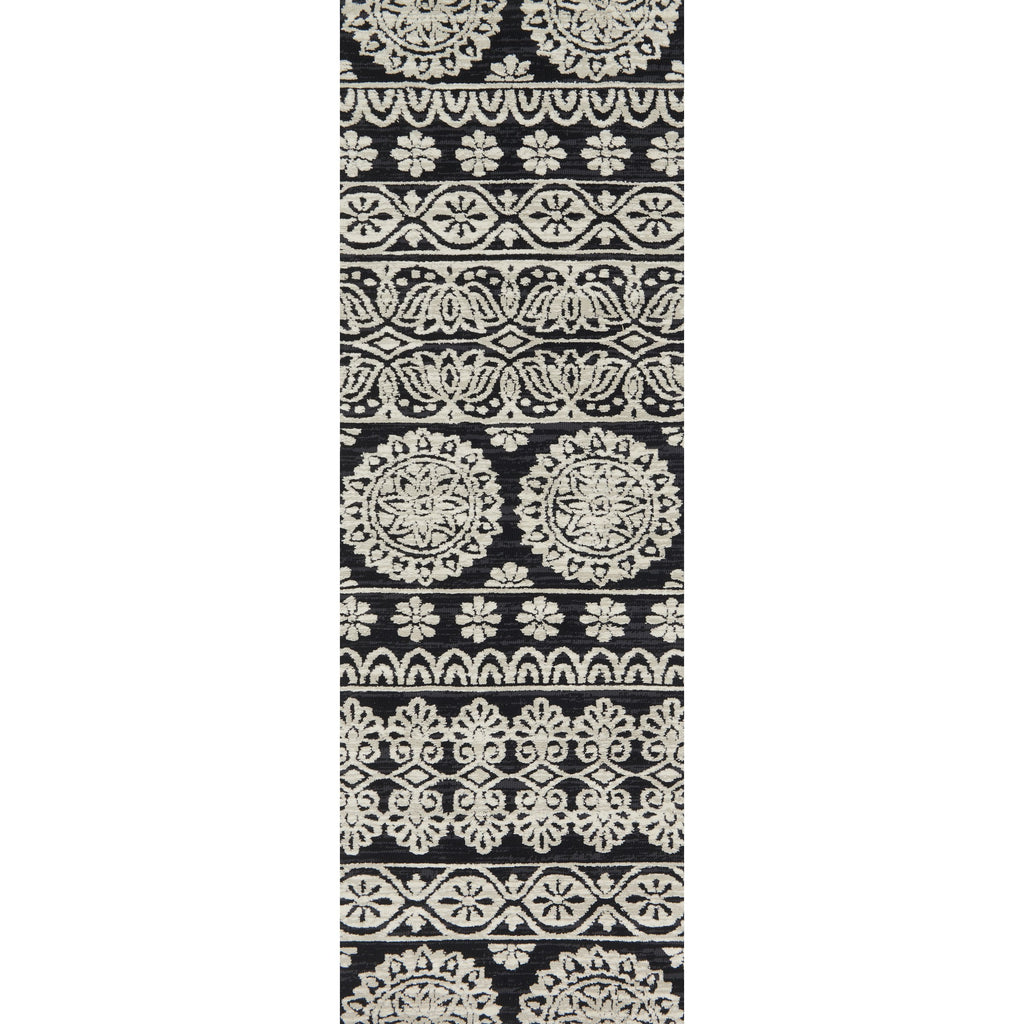 modern black and light grey runner rug with floral pattern
