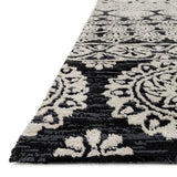 modern black and light grey area rug with floral pattern