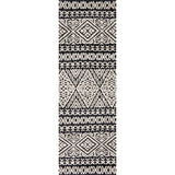 modern black and light grey runner rug with diamond pattern