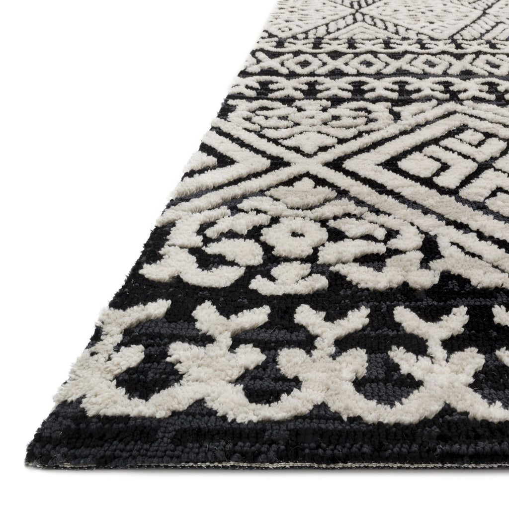 modern black and light grey area rug with diamond pattern