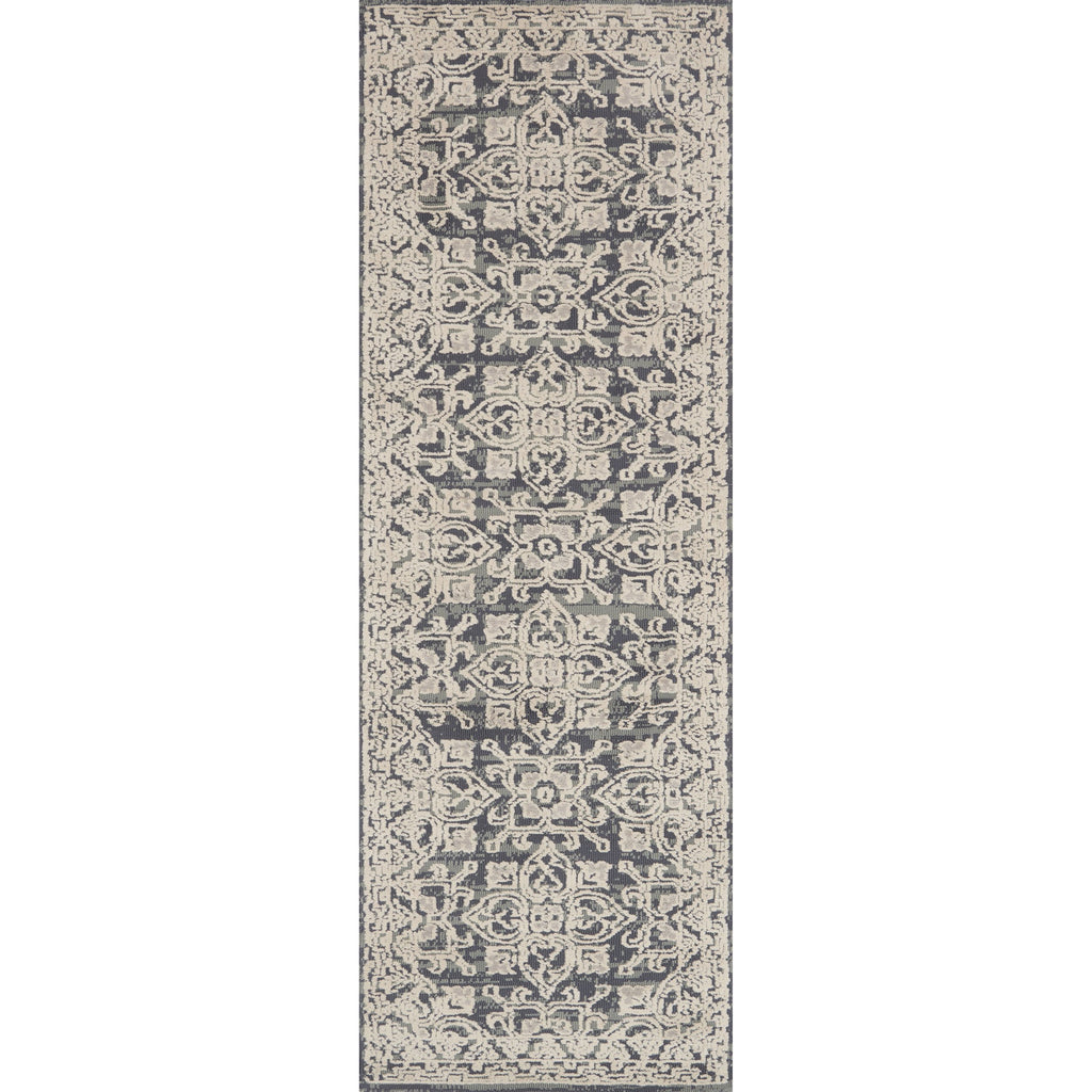 dark grey and beige runner rug with floral patterns
