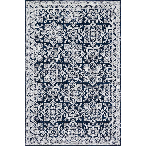 light grey and black area rug with floral patterns