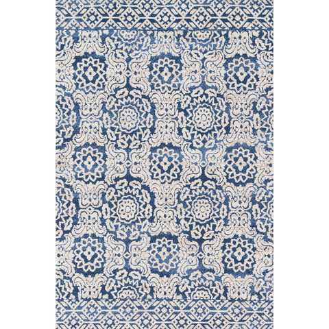 ivory and blue area rug with floral patterns