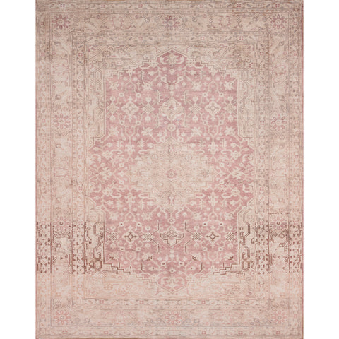 distressed light orange traditional rug with ivory detail