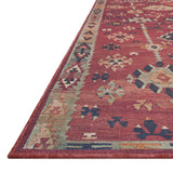 dark red modern rug with cream and blue detail