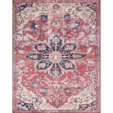 rust red ornate rug with dark blue and ivory detail