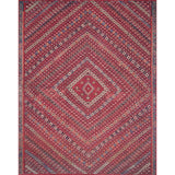 red modern rug with diamond pattern and multi colored geometric detail