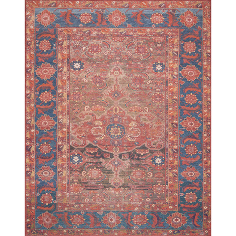 dark blue and faded red traditional rug with ornate pattern