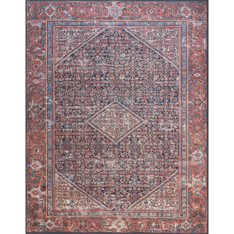 distressed navy and red traditional patterned rug