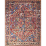 red and blue traditional rug with ornate pattern