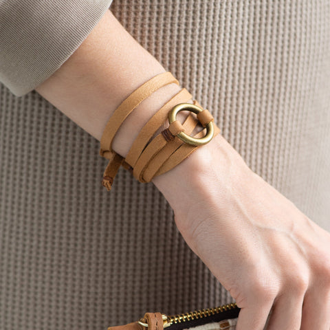 light brown leather wrap bracelet with brass ring