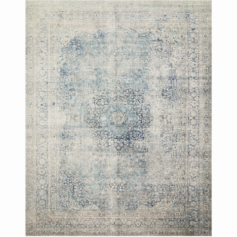 blue and cream distressed traditional rug