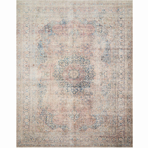 blue and rose colored distressed traditional rug with floral detail