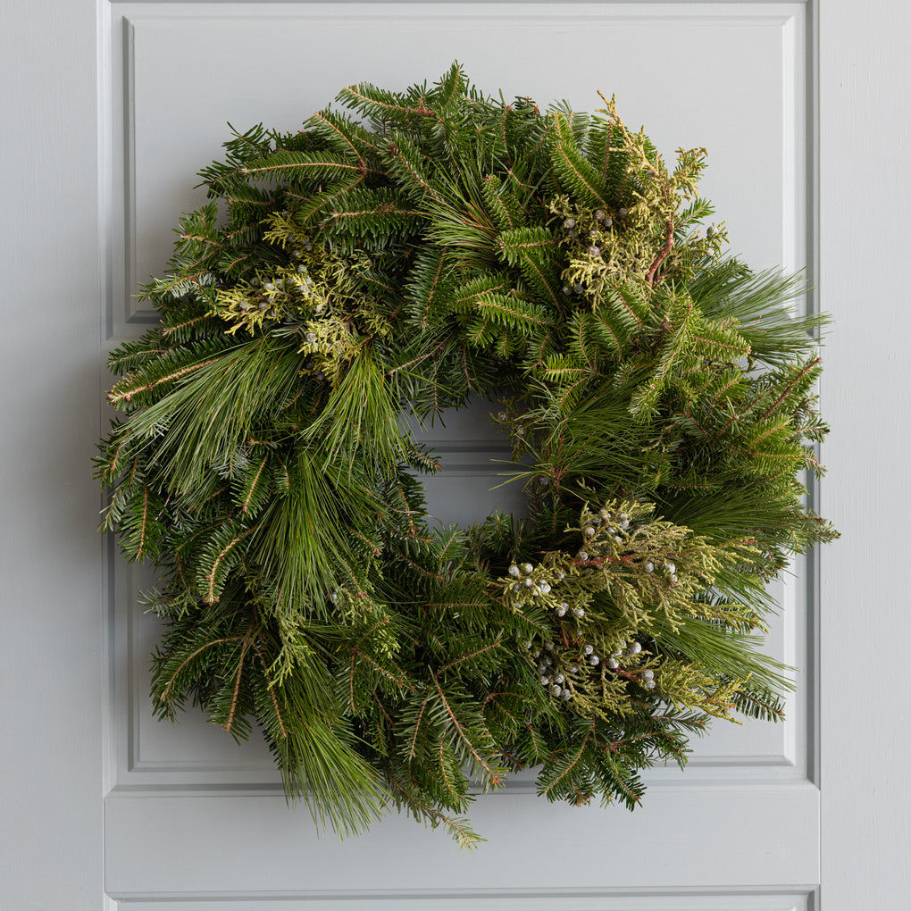 24 inch fresh cut pine and juniper greenery wreath