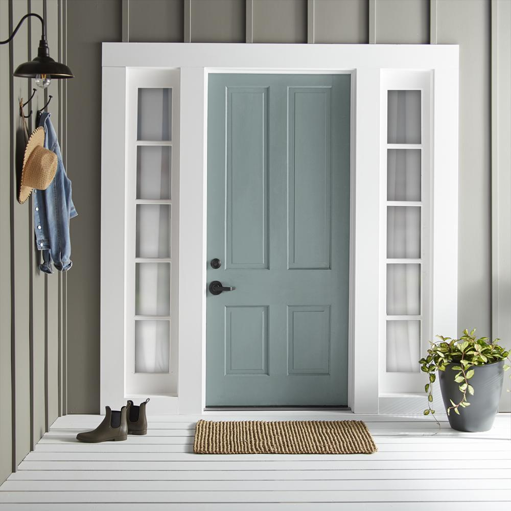 Gentle gray balanced with aqua blue hues exterior paint