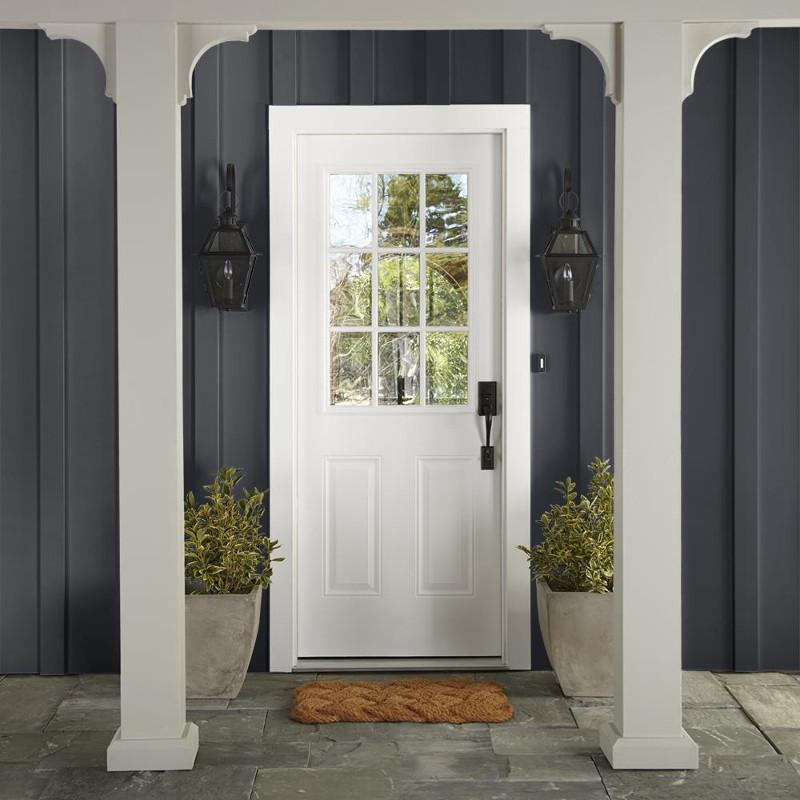 Dark black with hints of deep blue exterior paint