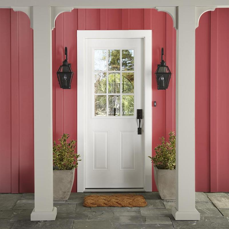 Vibrant red with notes of tangerine orange exterior paint