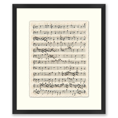 black and white framed sheet music