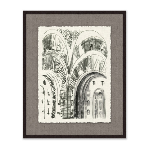 framed architectural sketch with black frame and grey mat