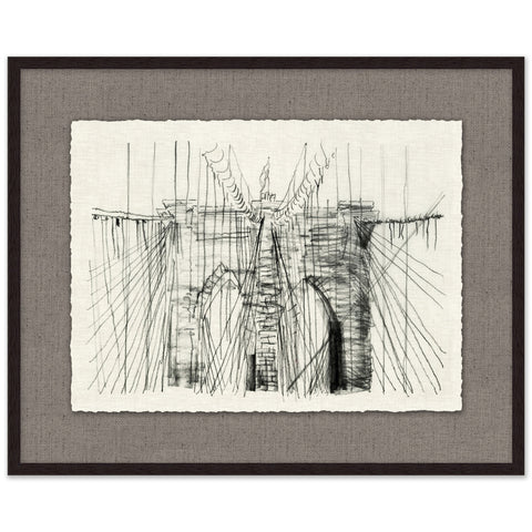 framed architectural sketch of a suspension bridge with black frame and grey mat