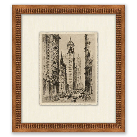sketch of manhattan in wooden frame with textured cream mat