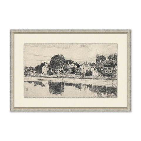 sketch of village by the water in textured grey frame with cream mat