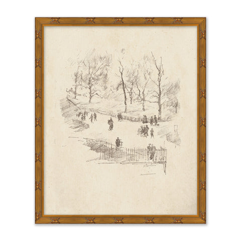 sketch of people in a city park framed in a traditional golden frame
