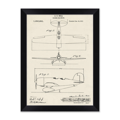 sketched diagram of an old airplane in a black frame