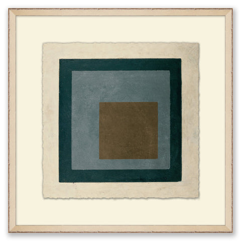 framed abstract painting of blue-toned squares
