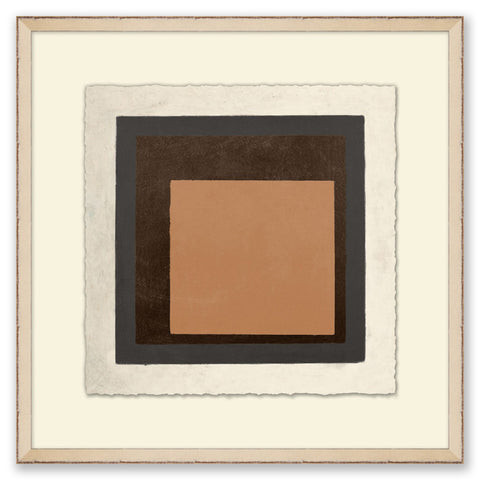 framed abstract painting of warm-toned squares