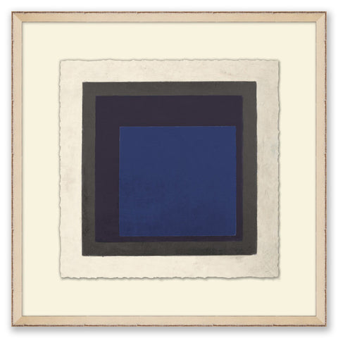 framed abstract painting of cool-toned squares