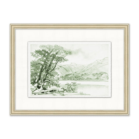 green sketch of a mountain valley in an off-white frame