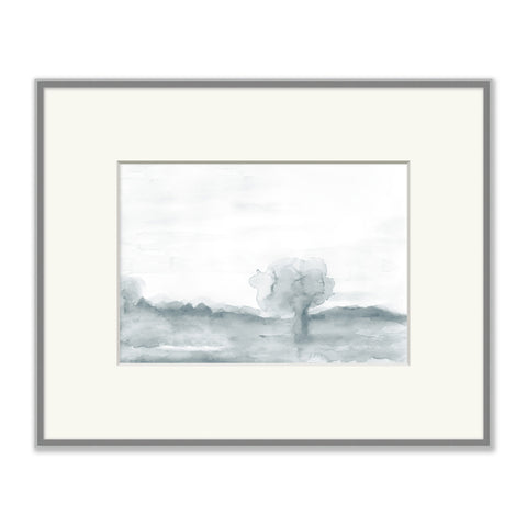 grey-blue watercolor sketch of landscape in grey frame with white mat