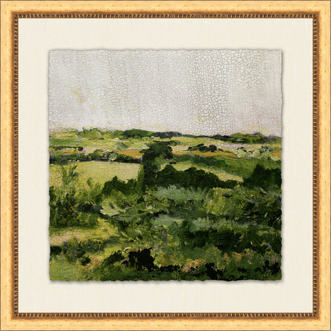 crackled landscape painting of rolling hills in wooden frame with mat