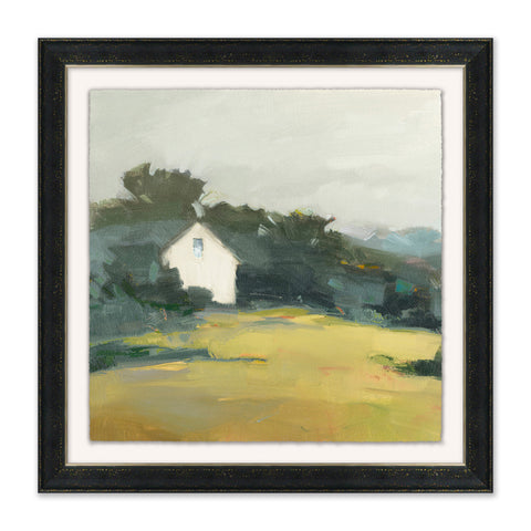 landscape painting of house on the edge of a forest in black wooden frame with white mat