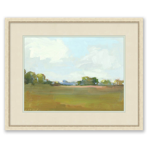 painting of a meadow in a cream frame with cream mat